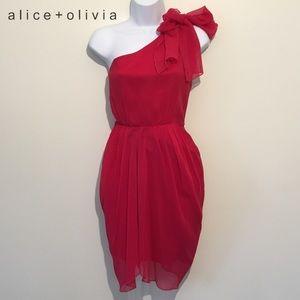 Alice And Olivia Red Tessa Tie Shoulder Dress